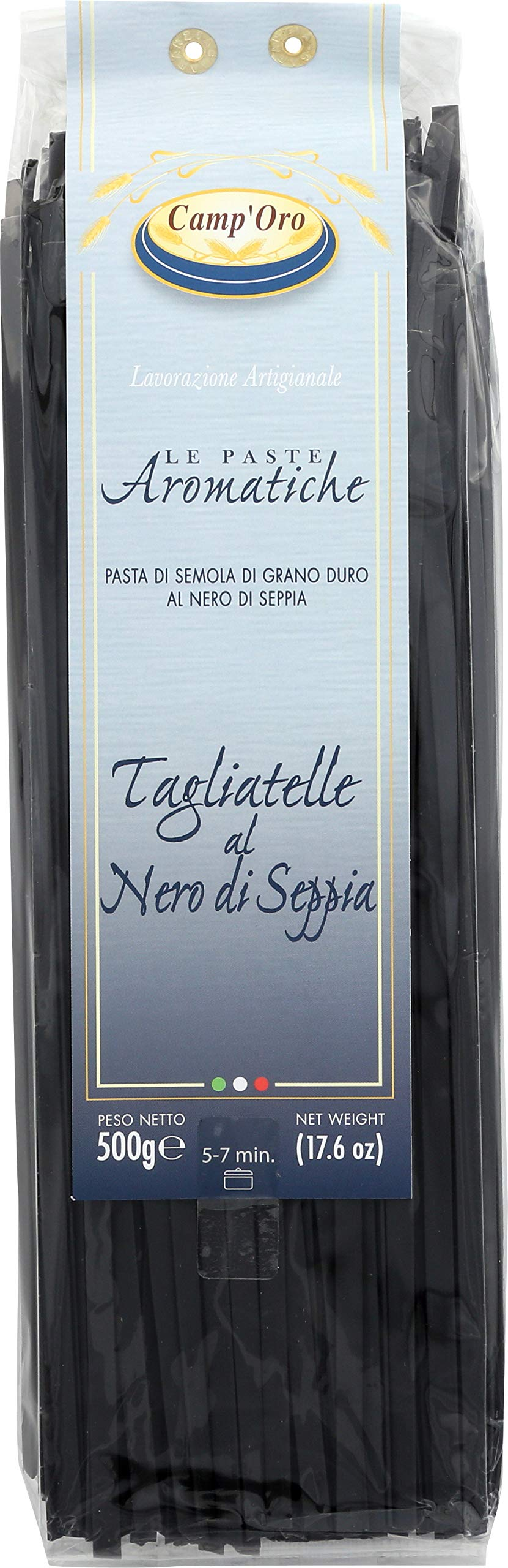 Camp'Oro Le Aromatiche Black Squid Ink Tagliatelle Italian Pasta, Black Squid Ink, 17.6 oz