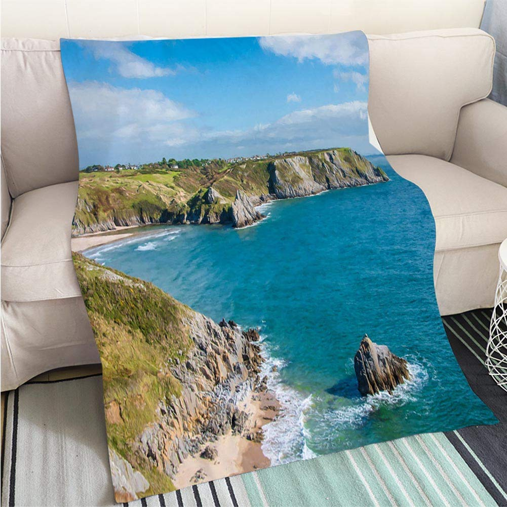 color9 39 x 59in BEICICI Luxury Super Soft Blanket Three Cliffs Bay on The Gower Peninsula Sofa Bed or Bed 3D Printing Cool Quilt