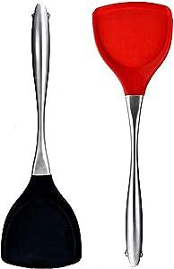 Mr Rudolf 2 Piece Silicone Spatula,600°F High Heat-Resistant Premium Flexible Non-Stick Rubber,Kitchen Cooking/Baking Utensil