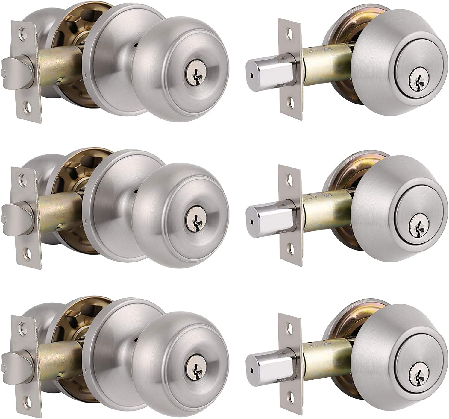 3 Pack Entry Door Knobs and Double Cylinder Deadbolt Lock Combo Set,