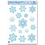 Amazoncom Beistle Company SnowmanSnowflake Window Clings - Snowflake window stickers amazon