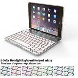 "iPad Mini 4 Keyboard Case BECEMURU 7-color Backlight Wireless Bluetooth Keyboard Muti-angle Stand Aluminium Alloy Folio Protective Auto Sleep/Wake up Clamshell Case Cover for 7.9"" iPad Mini 4 (silver)"