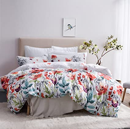 Amazon.com: Leadtimes Flower Duvet Cover Set, Floral White Boho ...