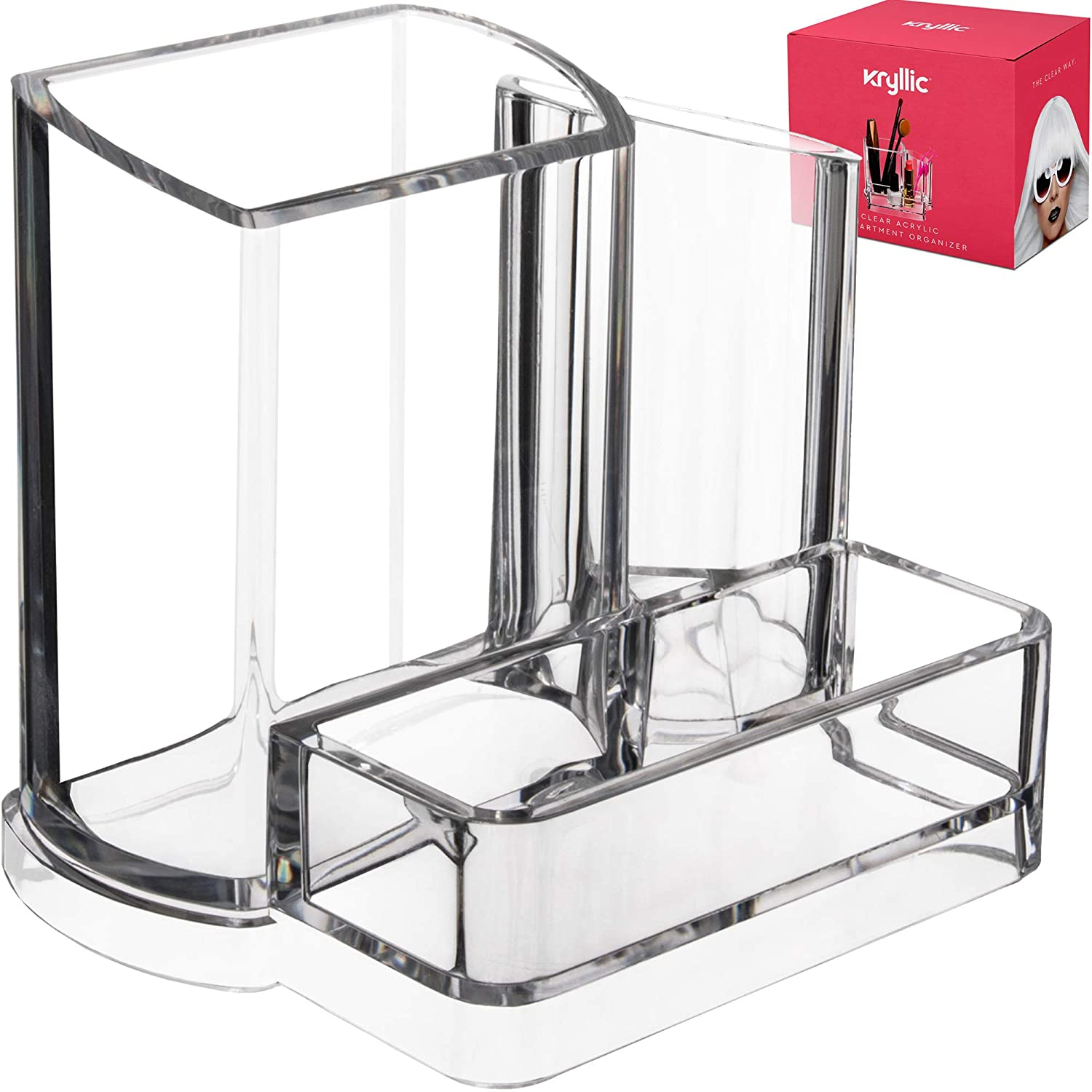 Acrylic Bathroom Office Accessories Holder - Clear 3 compartment vanity cosmetic storage organizer for toothbrushes jewelry makeup brush lipstick pens pencils scissors & business card desk supplies!