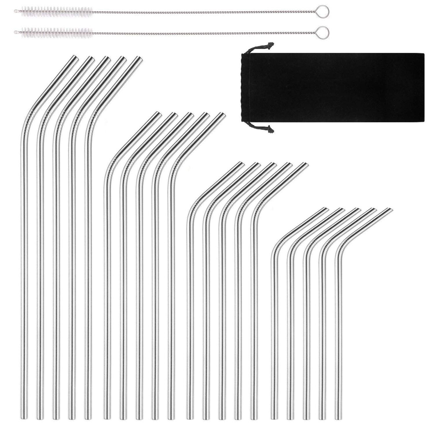 Reusable Stainless Steel Drinking Straws, 20 Pcs 4 Size - 6.3'' 7.1'' 8.5'' 10.5'', BPA Free Long Short Smoothie Drinking Curved Bent Straws with 2 Brushes and Carry Bag, Fit for 10/20/30 oz Tumblers by BGMAXimum