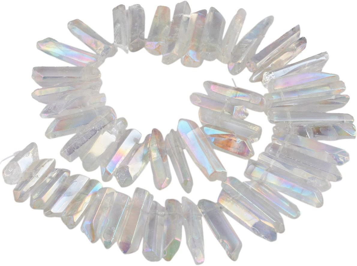 SUNYIK Angel Aura Quartz Titanium Coated Crystal Points Quartz Rough Sticks Spikes Point Beads 15 inch Strand Drilled
