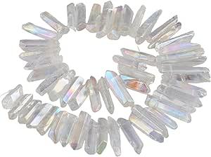 Angel Aura Quartz Obsidian Moon Crystal Healing Crescent Moon Aura Obsidian Moon Aura Titanium Coated Crystal Moon for Wirewrap Jewelry