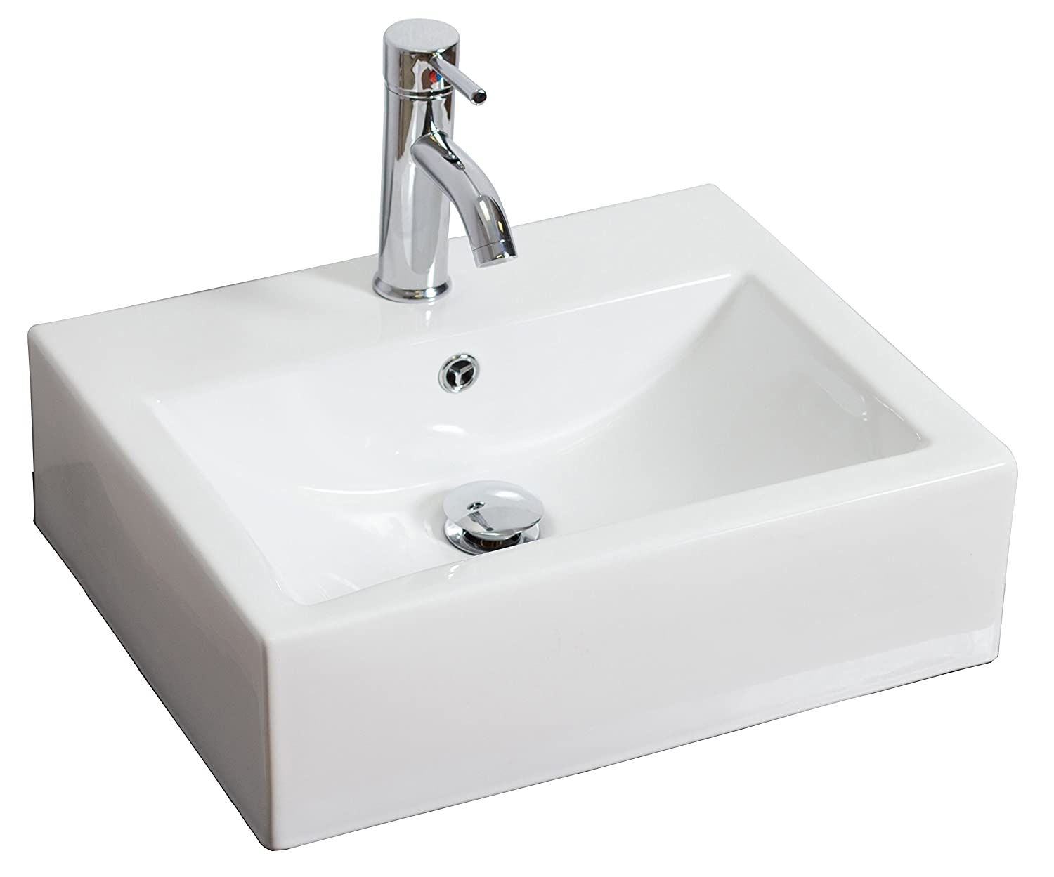 American Imaginations AI-15-685 Wall Mount Rectangle Vessel for Single Hole Faucet, 20.5-Inch x 16-Inch, White