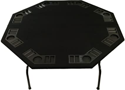 Amazon 52 xl 60 octagon folding poker table in green 52quot black felt folding octagon poker table for texas holdem cards and games watchthetrailerfo