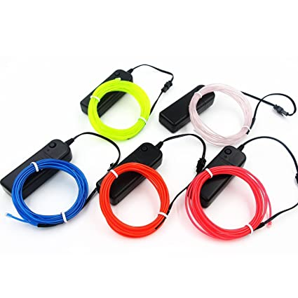 Amazon.com: Cefrank 5-Pack El Wire Set, Multi-Color (Blue,Green, Red ...