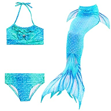 0ecc17d74c17 Image Unavailable. Image not available for. Color  3 Pcs Girls Mermaid Tail  Swimsuit ...
