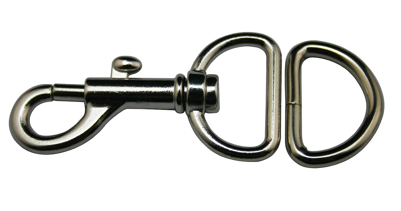 En Métal Argenté 2cm à l'intérieur Diamètre anneau en D Sac à main ou bagages Accessoires (Lot de 14jeux) Amanaote
