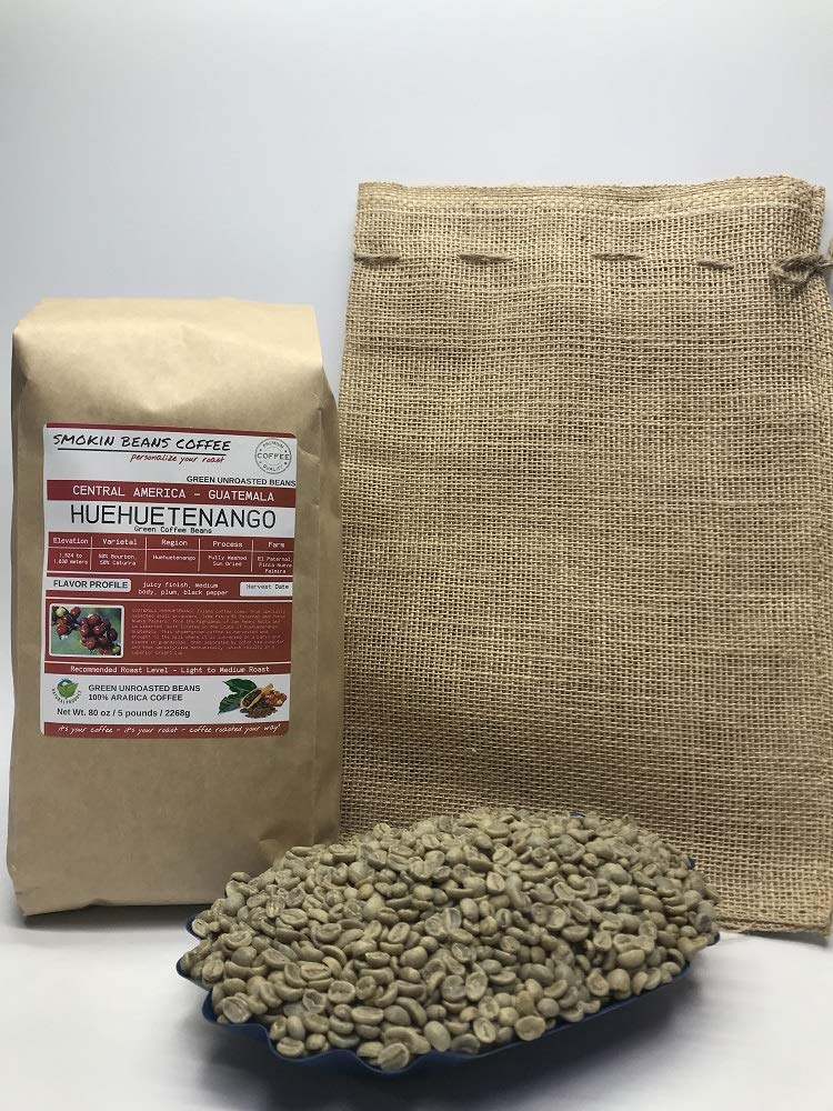 5 Pounds - Central American - Guatemala Huehuetenango - Unroasted Arabica Green Coffee Beans - Grown Huehuetenango Region - Altitude 1800 Meter - Drying/Milling Process Is Washed - Includes Burlap Bag by Smokin Beans