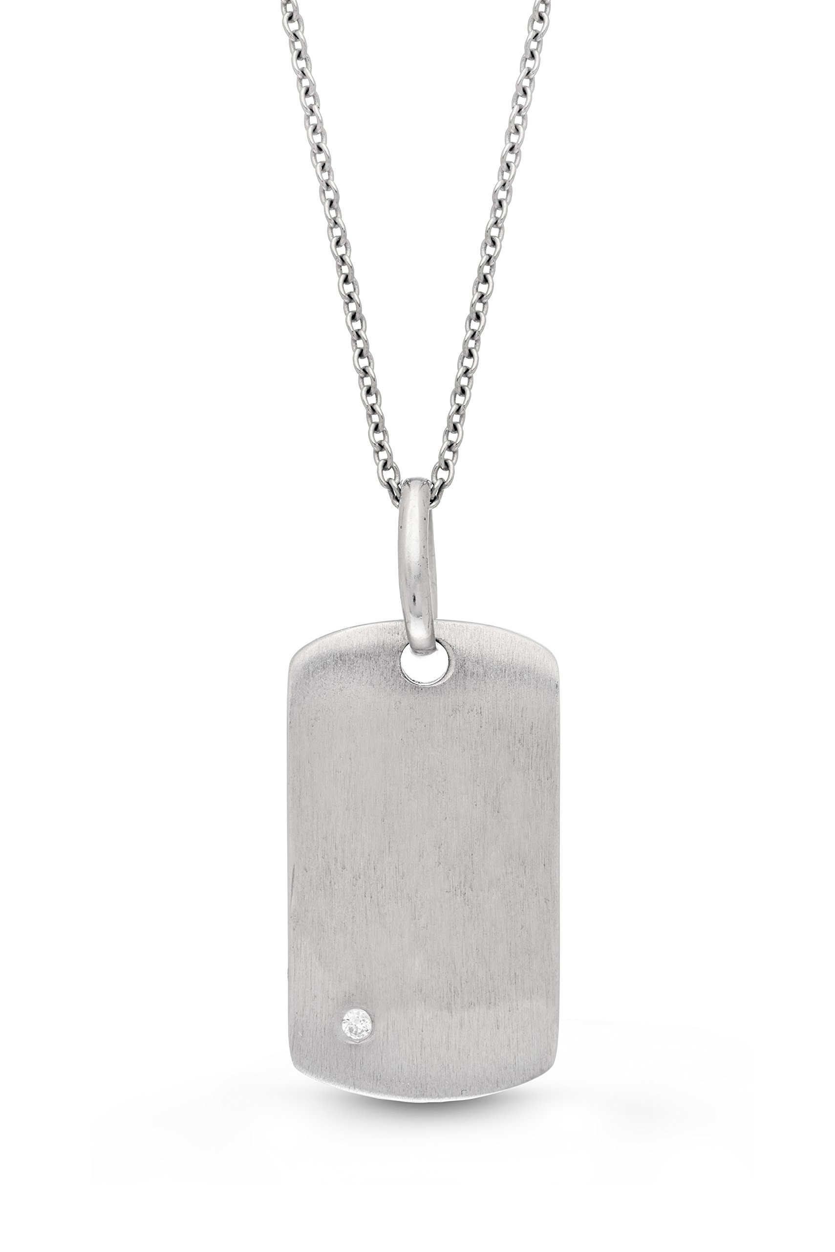 Sterling Silver-White Topaz-Dog Tag-Custom Photo Locket Necklace-36-inch chain-The Annie by With You Lockets