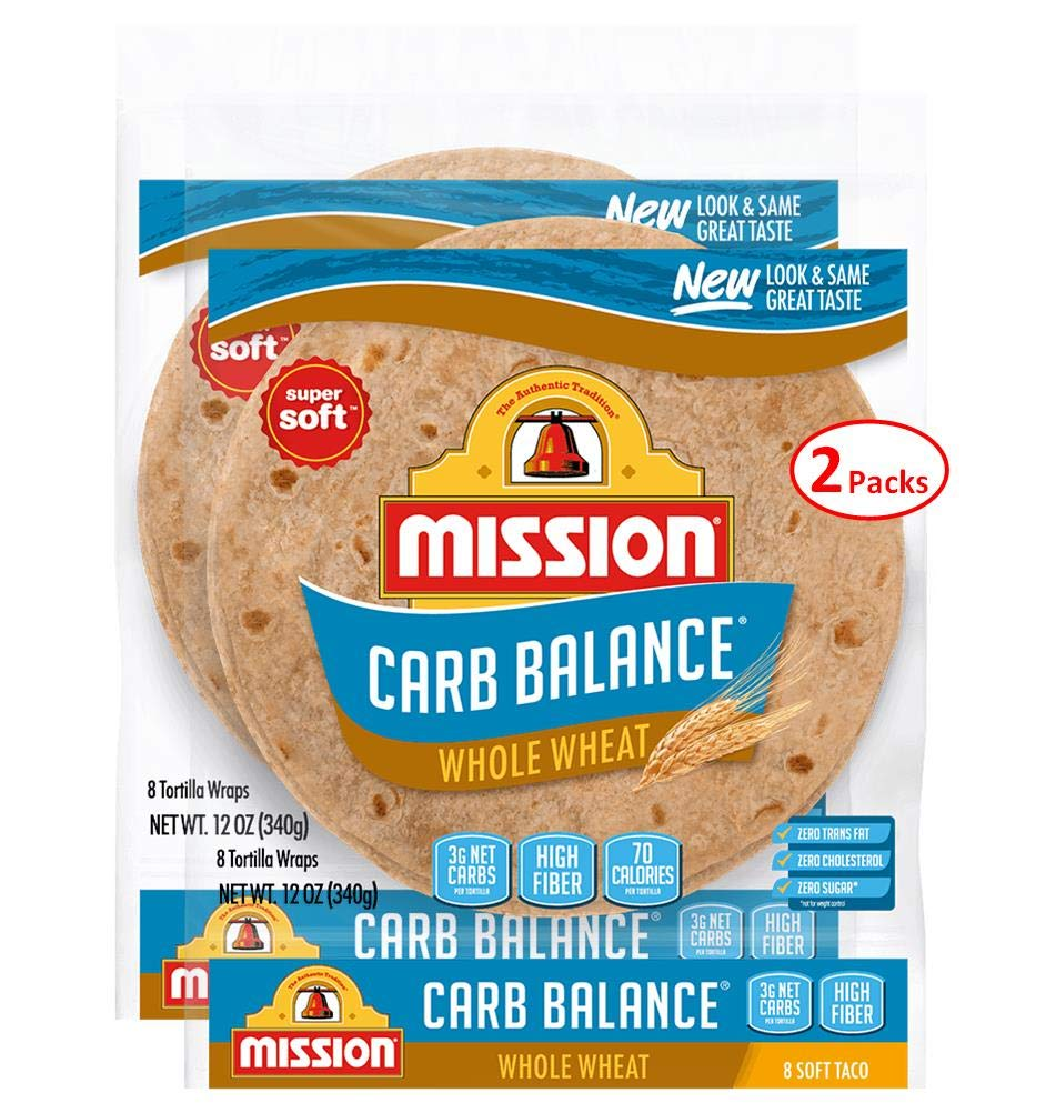 Mission Foods Carb Balance Whole Wheat Soft Taco, 8 ct 2 Bags 0g Trans Fat per serving