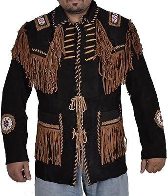 Beaded /& Boned Suede Leather Coat SleekHides Mens Western Fringed