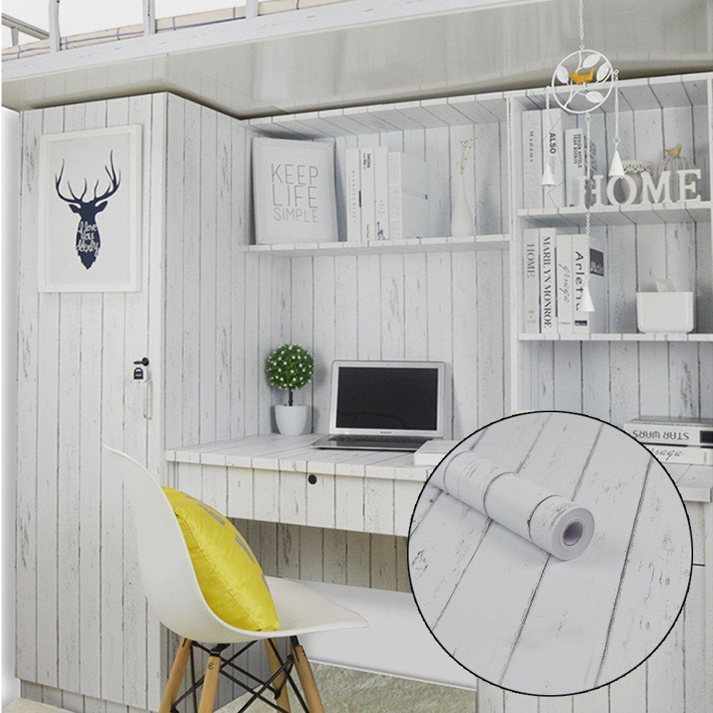 LoveFaye White Wood Grain Contact Paper Nordic Style Self-Adhesive Shelf Liner Locker Sticker 17.7 Inch By 9.8 Feet COMIN18JU065415