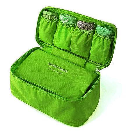 CARRY TRIP Multifunctional Bra Underwear Organizer Bag Slide Portable Cosmetic Makeup Lingerie Toiletry Travel Bag  Green