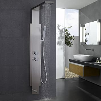 kes sus 304 stainless steel rainfall shower panel faucet 5function rain massage system