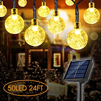 Guirnalda de luces solares para exteriores, 50 luces LED de 23 pies 8 modos impermeables para exteriores bolas de cristal decorativas de jardín: Amazon.es: Iluminación
