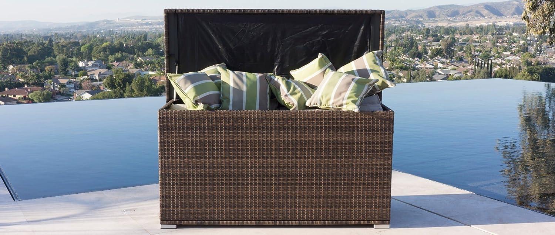 Dw Pe Wicker Cushion Box Storage Deck Bin Outdoor Garden Furniture