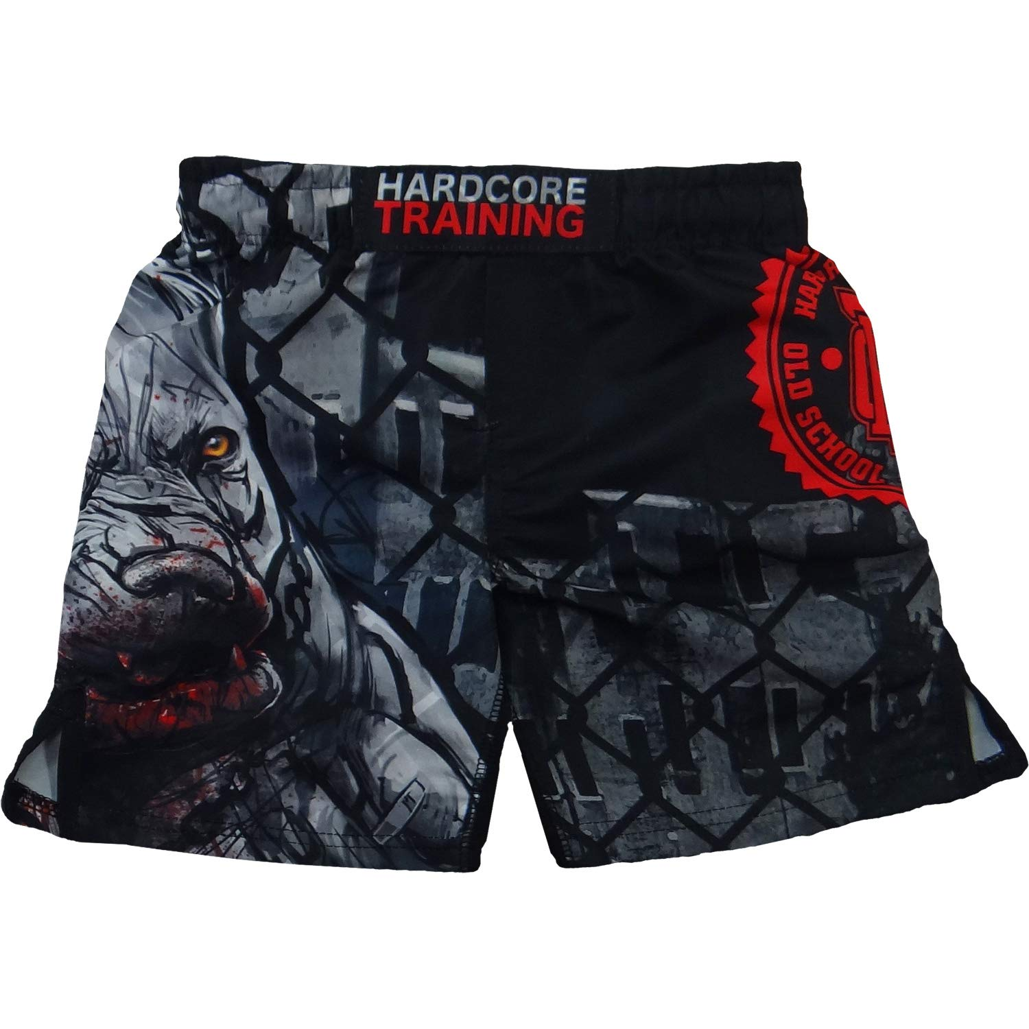 Hardcore Training Kids Shorts PitbullCity-10 Years Black/Red