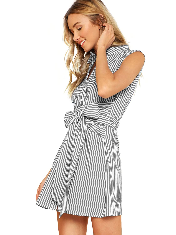 Romwe Women s Cute Striped Belted Button up Collar Summer Short Shirt Dress  at Amazon Women s Clothing store  62a5f71aa