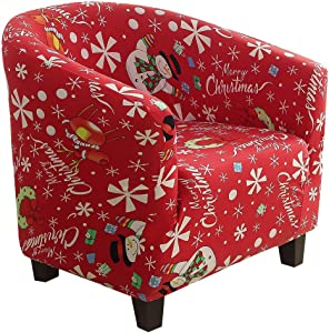 SearchI Club Chair Slipcover, Stretch Spandex Removable Christmas Armchair Covers, Sofa Cover Furniture Protector Home Decor for Living Room Tub Chair Covers Couch Covers