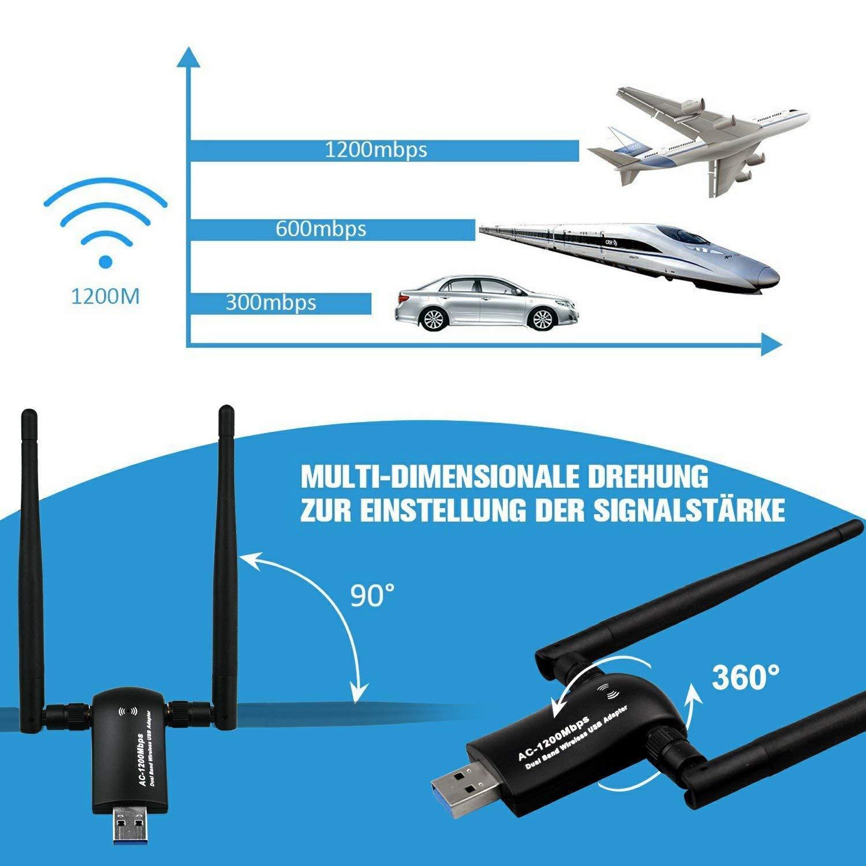 1200Mbps Wireless USB WiFi Adapter, Maxsoco WiFi Adapter,AC1200 Dual Band 802.11 ac/a/b/g/n,2.4GHz/300Mbps 5GHz/867Mbps High Gain Dual 2 X 5dBi Antennas Network WiFi USB 3.0 for Desktop (Black) by Maxsoco (Image #4)