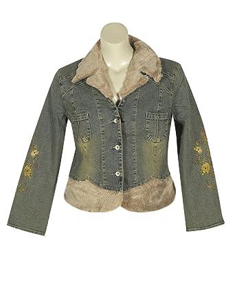 Plus Size Faux Fur Trim Denim Jacket --Size: 16 Color: Blue at ...