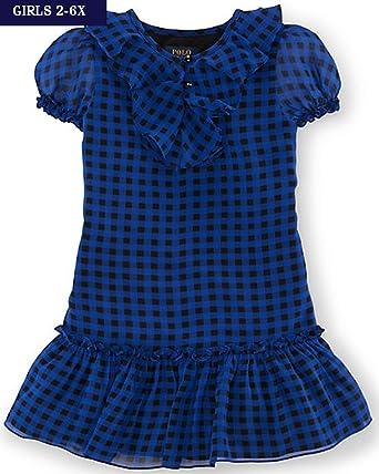 7f3cdd9ab Amazon.com: Ralph Lauren Girls Plaid Ruffled Georgette Dress: Clothing