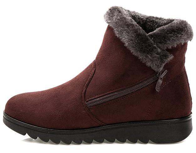 0d40e5e1977b5 Amazon.com | DADAWEN Women's Winter Warm Side Zipper Snow Boots | Snow Boots
