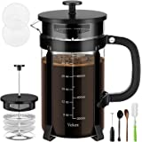 Veken French Press Coffee Maker (34 oz), 304 Stainless Steel Coffee Press with 4 Filter Screens, Durable Easy Clean Heat Resi