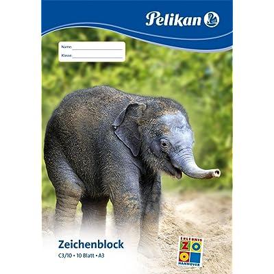 Pelikan Zeichenblock C 3/10, DIN A3, 100 g/qm, 10 Blatt: Oficina y papelería