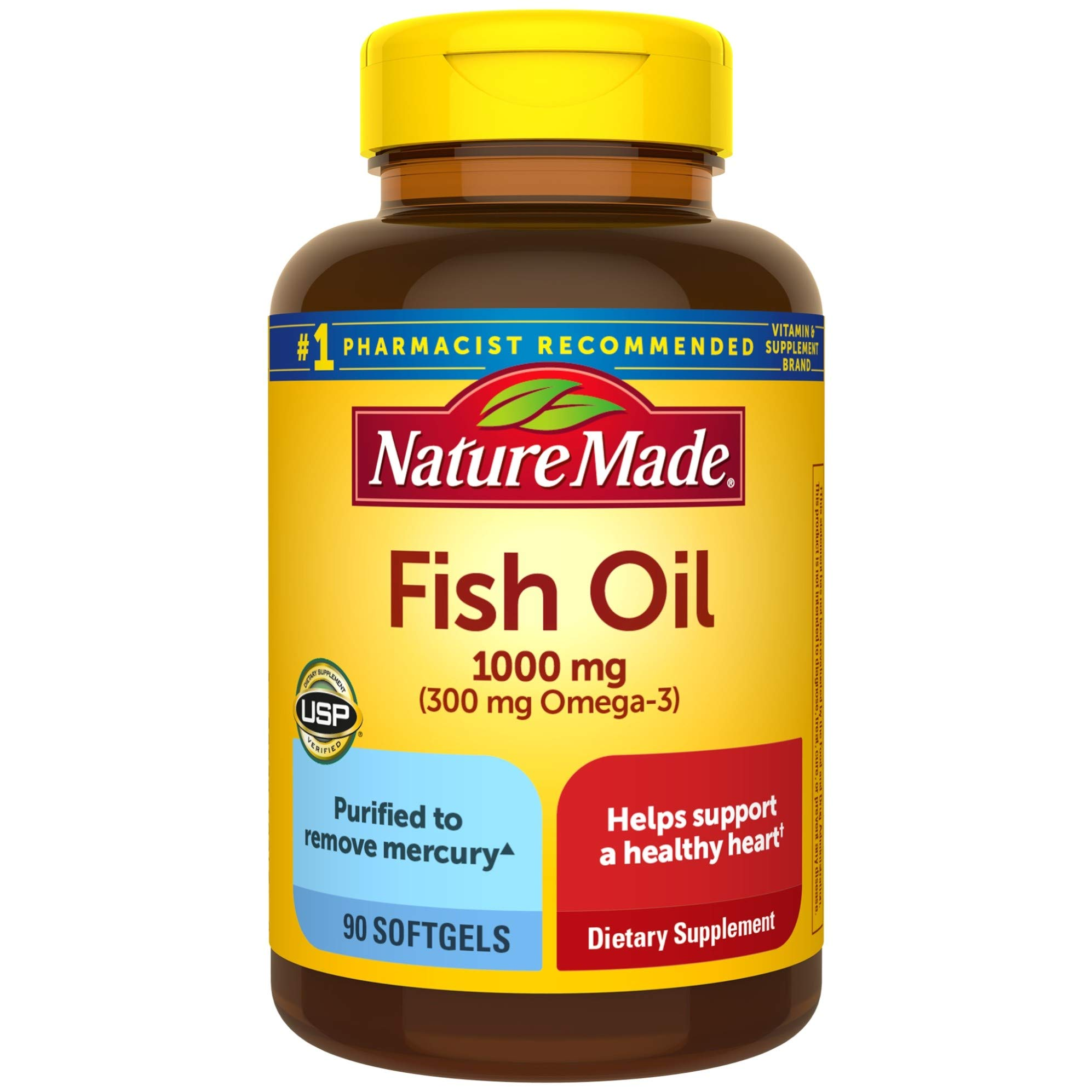 Fish Oil 1000 mg, 90 Softgels, Fish Oil Omega 3 Supplement For Heart Health