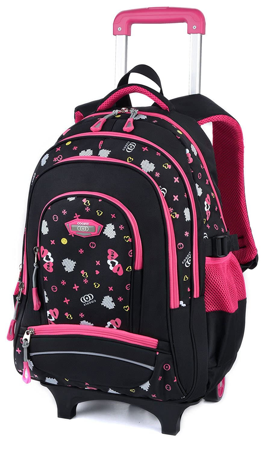 Amazon.com: Kids Rolling Backpack Printed Wheeled Backpack Carry on Luggage Backpack for School Camping Travelling: COOFIT