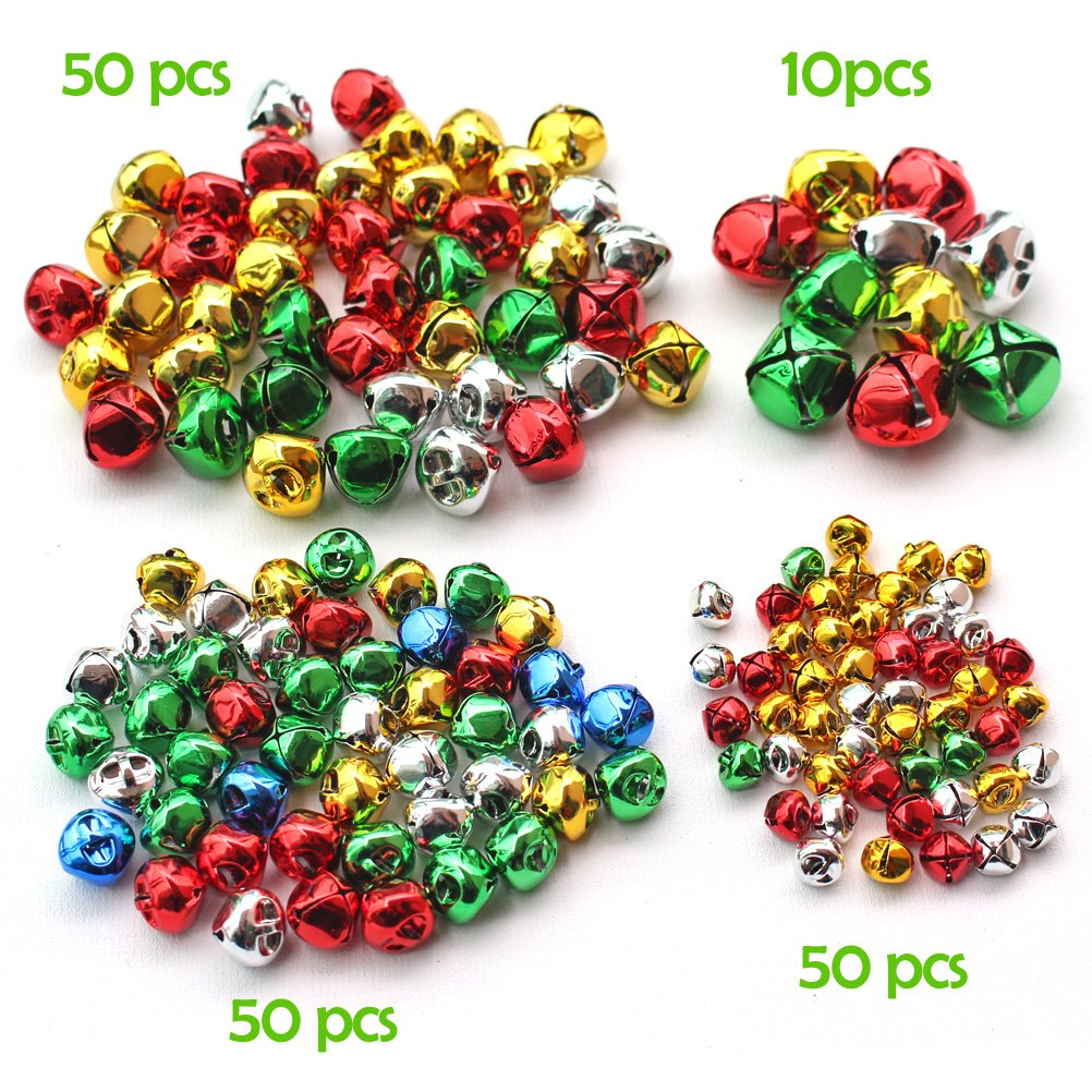 160 PCS Silver Christmas Jingle Bells Mini Small Bells Bulk for Festival /& Party Decorations// DIY Craft 4 Sizes 10mm, 15mm, 20mm, 25mm