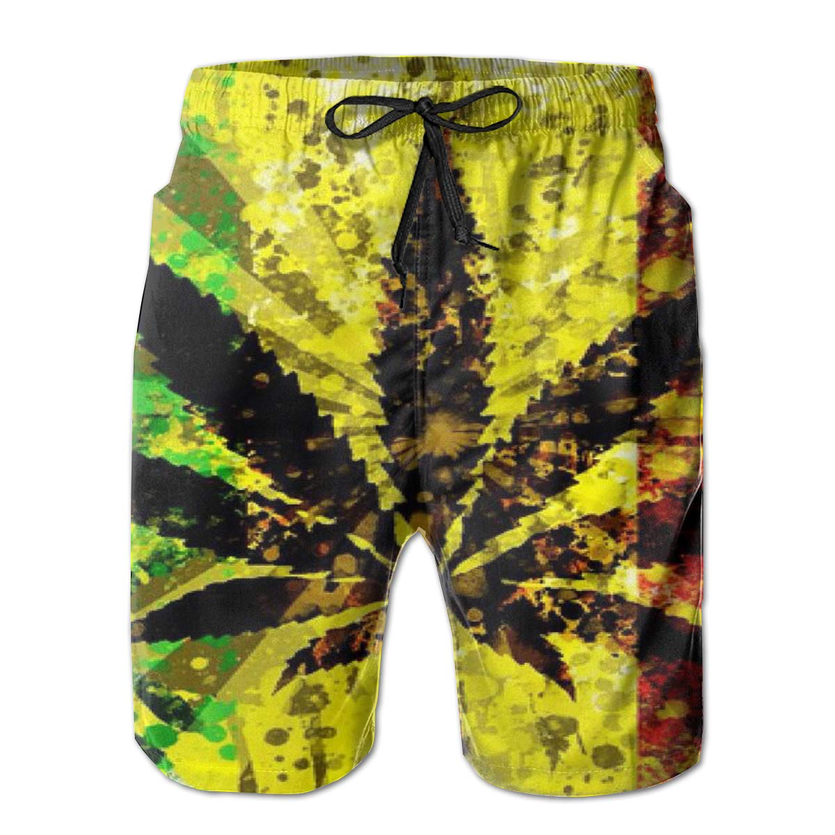 RolandraceWatercolor Rasta Weed Mens Colorful Swim Trunks Beach Board Shorts with Lining