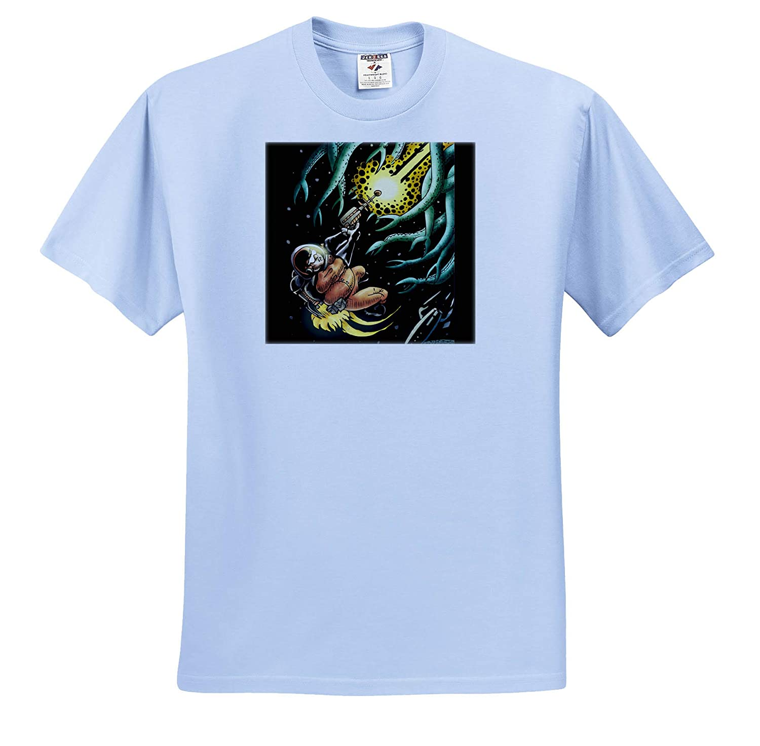 Art Sci-Fi Hero Battles Tentacle Alien in Space 3dRose Travis ECK Commander Hue ts/_317504 Adult T-Shirt XL