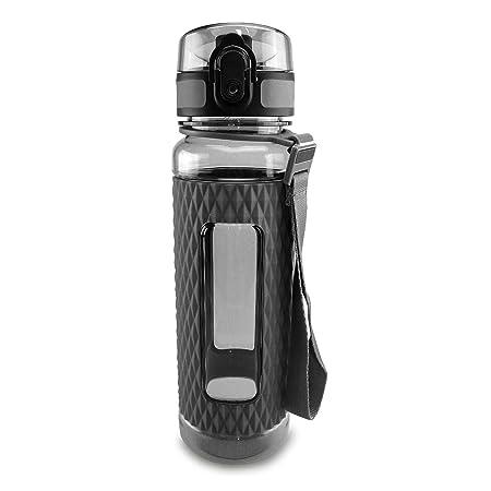 SMARDY Tritan Botella de Agua para Beber Gris - 450ml - de plástico sin BPA - Tapa de un Clic - fácil de Abrir - ecológica - Reutilizable: Amazon.es: Jardín
