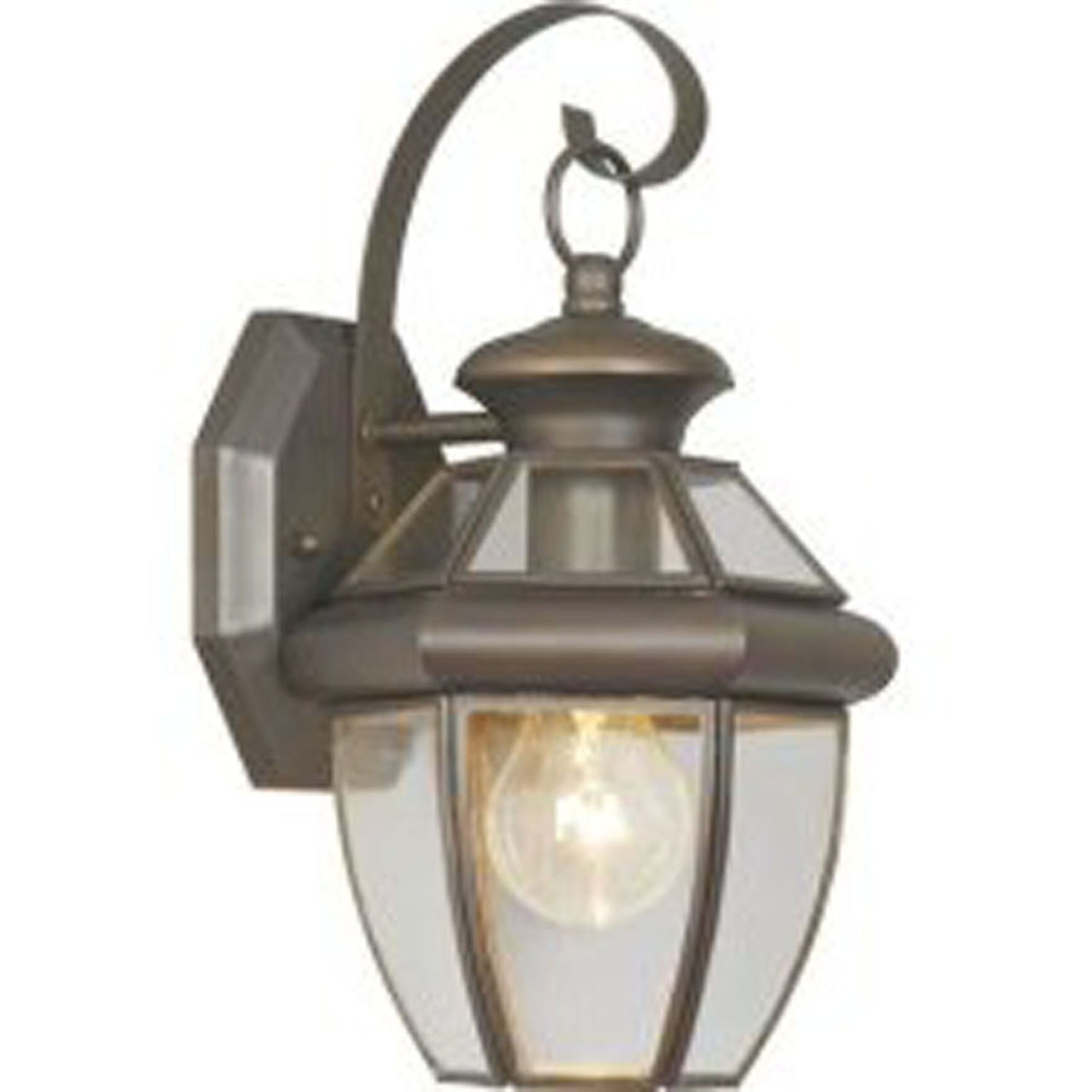 Livex Lighting 2051-07 Monterey 1 Light Outdoor Bronze Finish Solid Brass Wall Lantern with Clear Beveled Glass