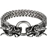 Cupimatch Men's Gothic Biker Solid Stainless Steel Dragon Head Link Chain Bracelet, 8.7""