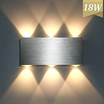 Lightess 18w Led Wall Light Modern Living Room Up Down Wall Lamp Aluminum Wall Light Sconce Bathroom Waterproof Lighting Fixture For Hall Home Office Bedroom Corridor Library Warm White Amazon Co Uk Lighting