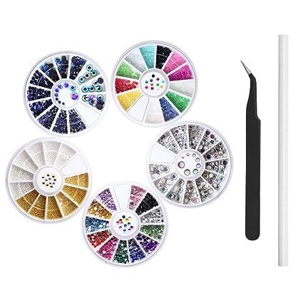 Homgaty - Juego de 5 cajas de diamantes de imitación para decoración de uñas y manualidades