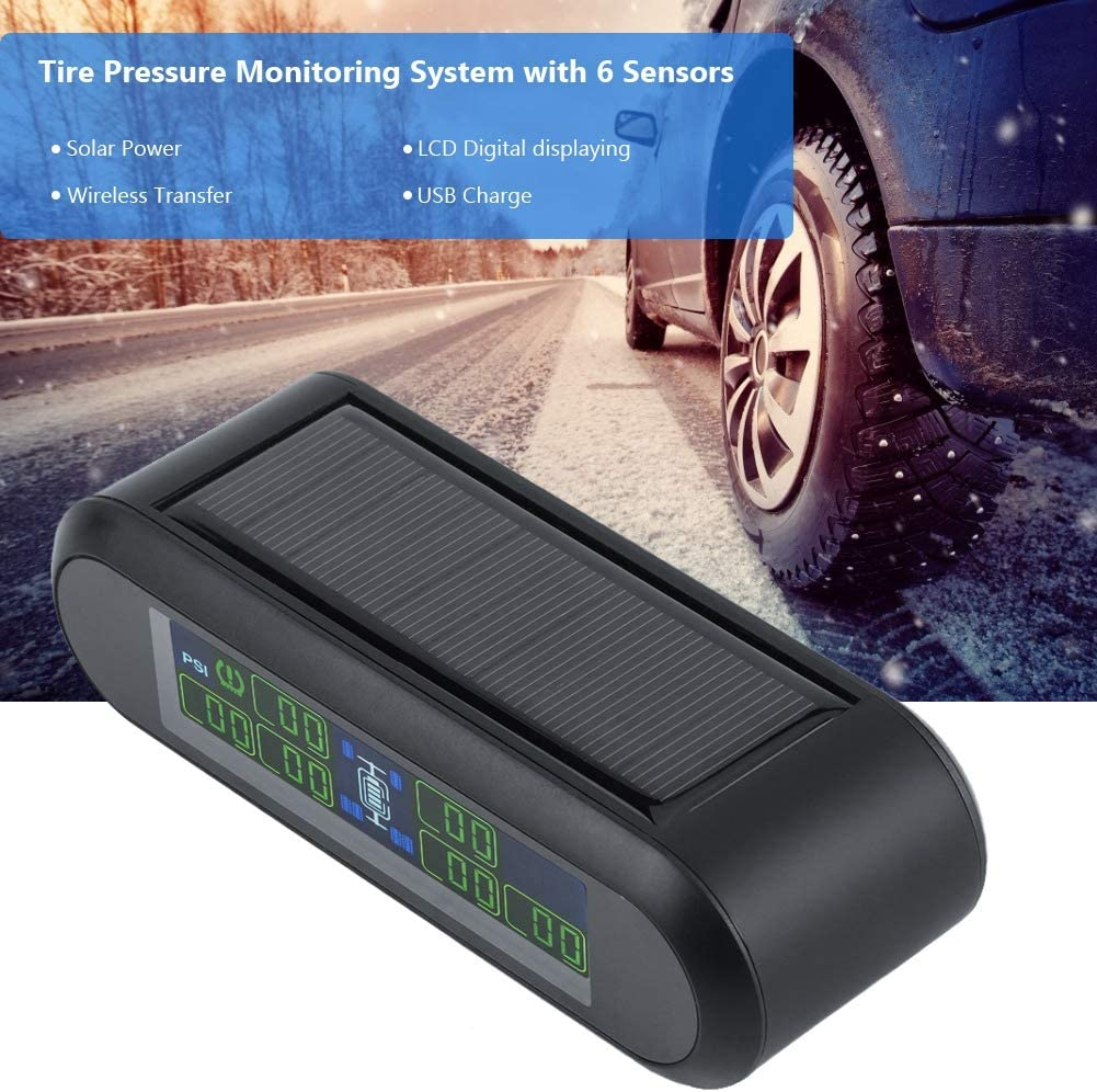 Hlyjoon TPMS Receiver Car Vehicle Wireless Solar Tire Pressure Monitoring System DC 5V LCD Digital Display Monitor Alarm with 6 External Sensors Kit Universal