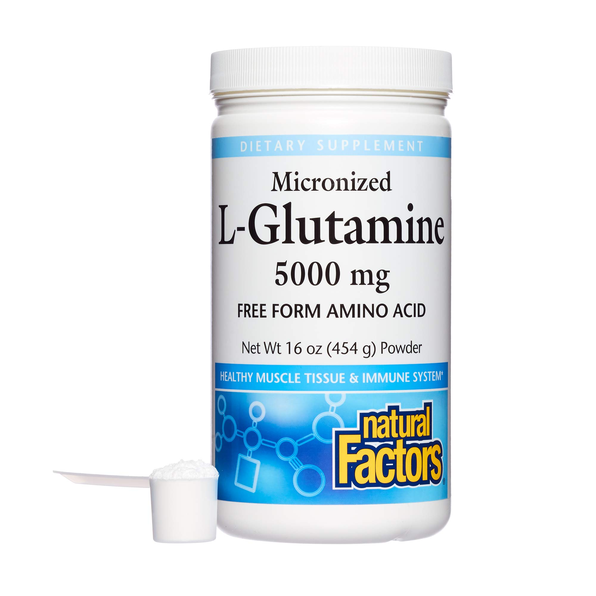 Natural Factors, Micronized L-Glutamine Drink Mix 5000 mg, Supports Healthy Muscle Tissue and Immune System Function, 16 oz (90 Servings) by Natural Factors
