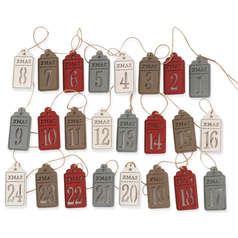 Numeri da 1 a 24 Numeri per Fai da Te 8 x 4 cm in Legno QILICZ 24 Numeri per Calendario dellAvvento con mollette e Corda di Iuta per Calendario Natalizio