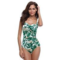 SHEKINI Bikini Femme Body Guide Push up Maillots de Bain Femme 1 Pièce Monokini Rembourré Beachwear Ruché Effet Ventre Plat Triangle Halter Réglable Sport Bikini de Plage