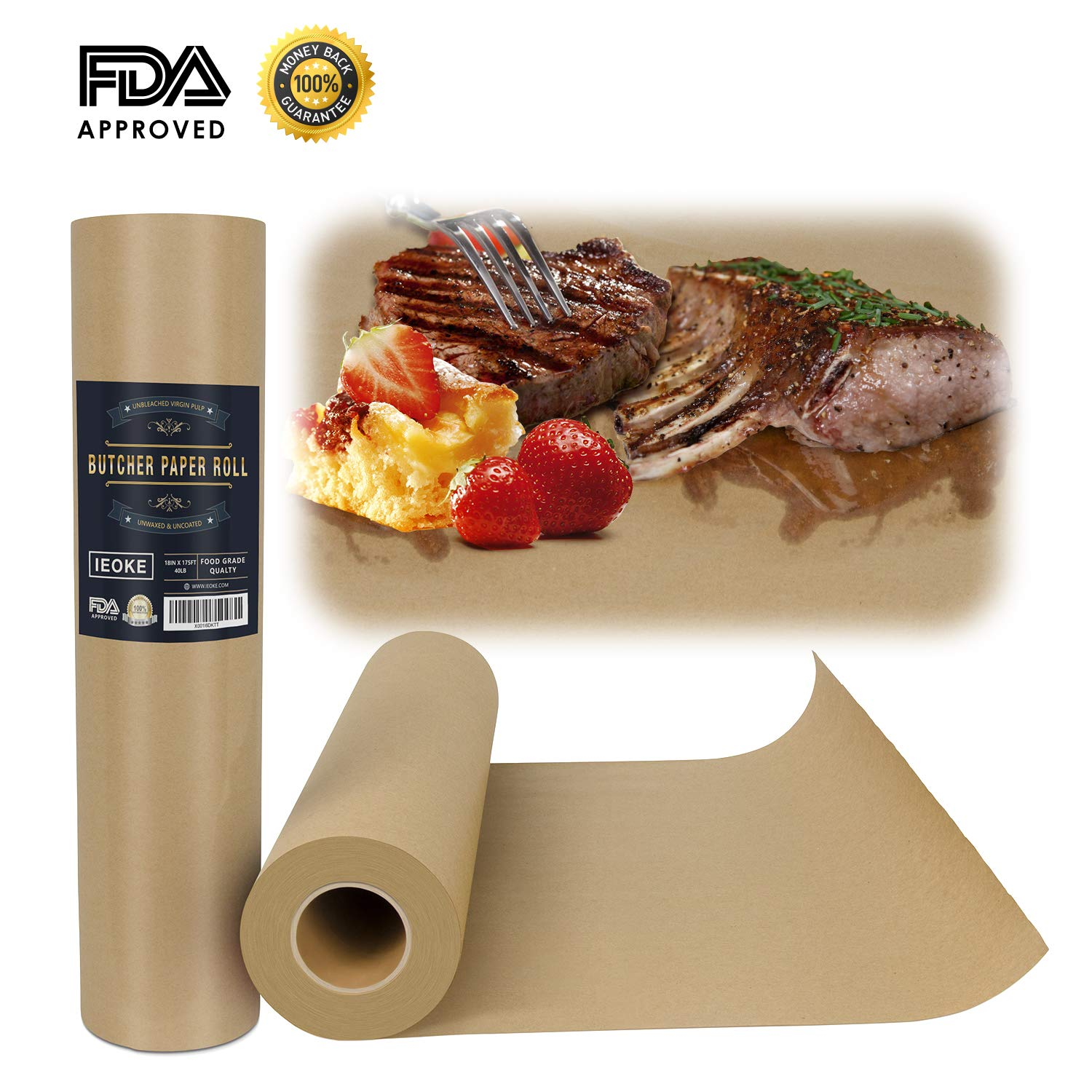 """IEOKE Butcher Kraft Paper Roll - 18 """" x 175' (2100"""") Wrapping Paper for Beef Brisket FDA Approved Perfect for Smoking BBQ Meats Cooking Paper"""