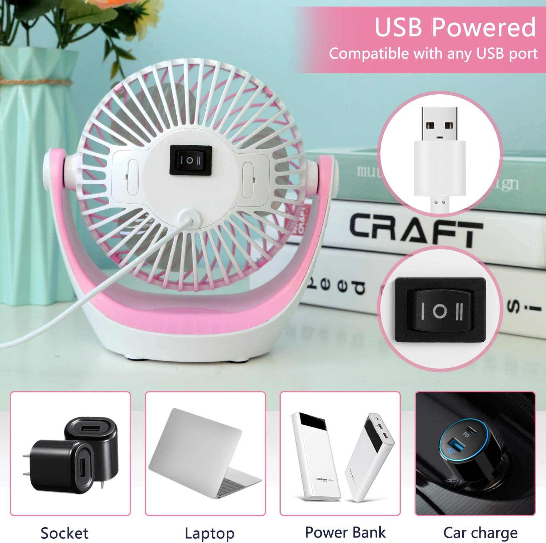 pink Mini fan Portable USB Desk Computer PC Laptop Silent Color Value-5-Star